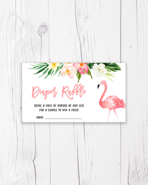 Pink Tropical Flamingo Diaper Raffle