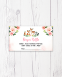 Blush Pink Floral Woodland Diaper Raffle