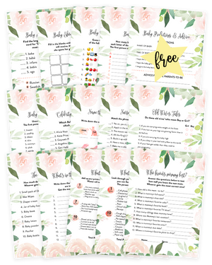 Floral Succulent Baby Shower Game Pack