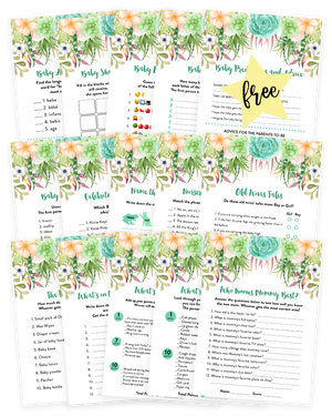 Succulent Baby Shower Game Pack