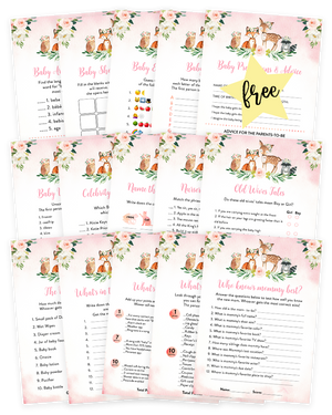 Blush Pink Floral Woodland Baby Shower Game Pack