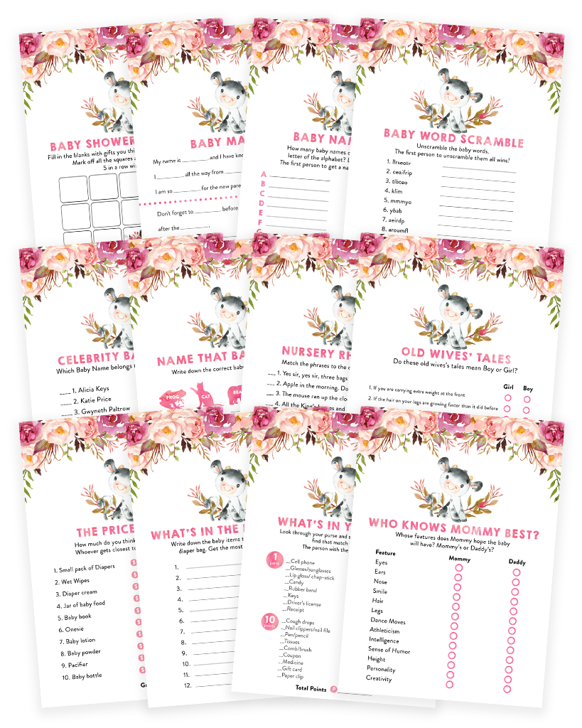 Cow Floral Boho Baby Shower Game Pack
