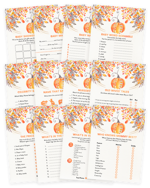 Fall Autumn Orange Pumpkin Baby Shower Game Pack