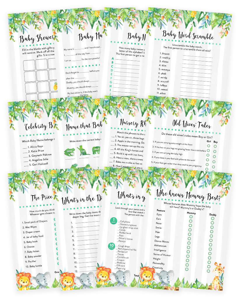 Safari Jungle Elephant, Lion Giraffe Baby Shower Game Pack