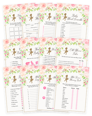 Pink and Gold Floral Tutu Ballerina Baby Shower Game Pack