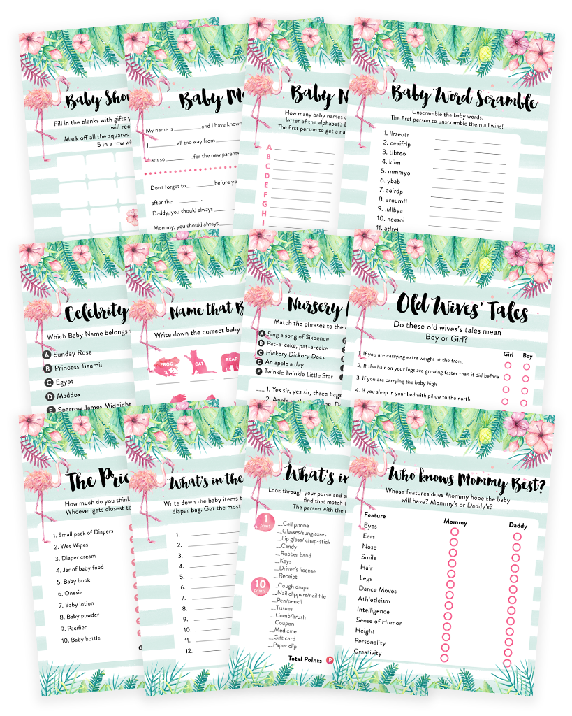 Tropical Flamingo Baby Shower Game Pack