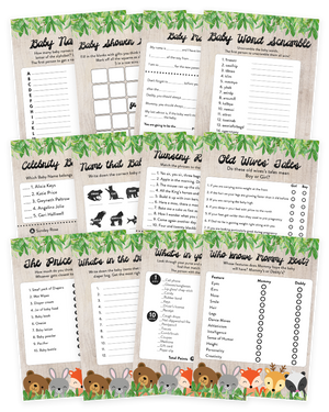 Woodland Baby Shower Game Pack