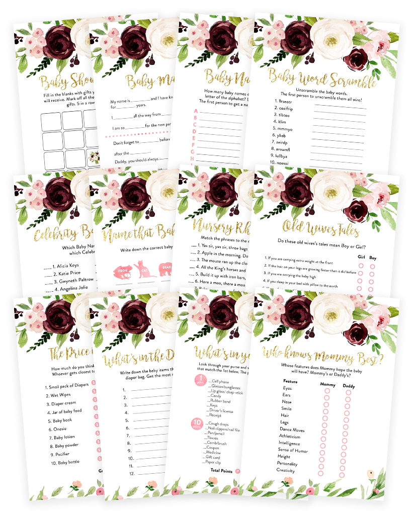 Marsala and Blush Pink Floral Baby Shower Game Pack