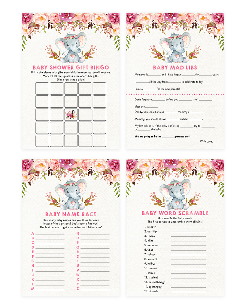Elephant Floral Boho Baby Shower Game Pack