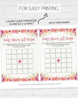 Floral Baby Shower Game Pack
