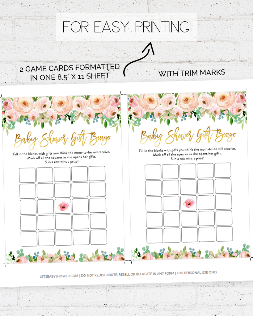 Pink and Gold Floral Baby Shower Game Pack