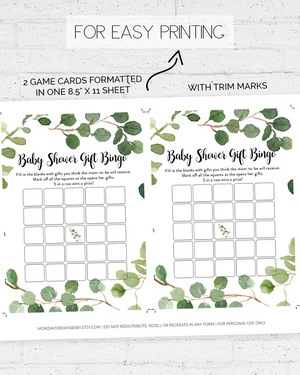 Greenery Foliage Baby Shower Game Pack