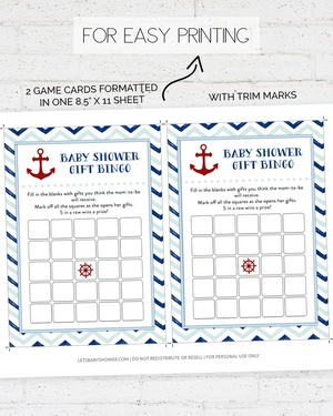 Blue and Red Nautical Baby Shower Game Pack