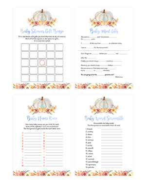 Fall Pumpkin Blue and Orange Floral Baby Shower Game Pack