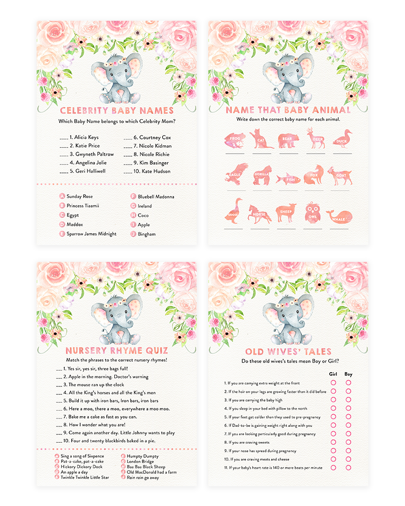 Blush Pink Floral Elephant Baby Shower Game Pack