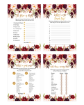 Marsala and Gold Floral Baby Shower Game Pack
