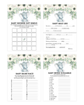White Floral Gender Neutral Elephant Baby Shower Game Pack