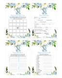 Blue Floral Elephant Baby Shower Game Pack