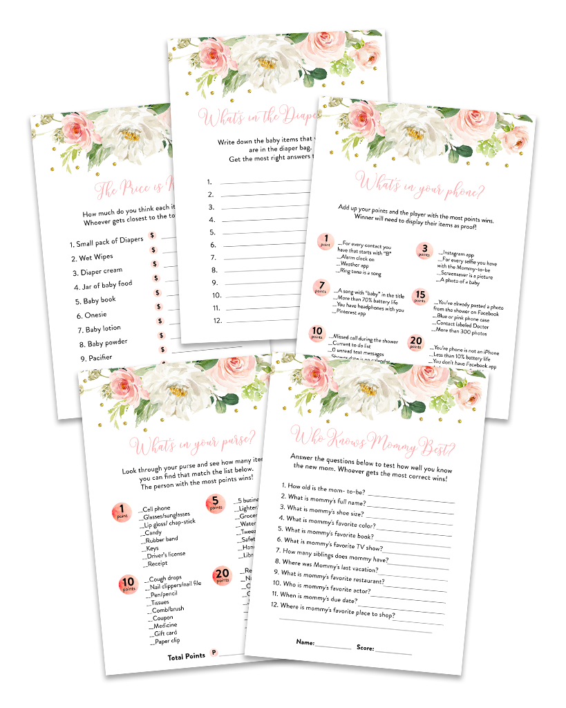 Blush Pink Floral Baby Shower Game Pack