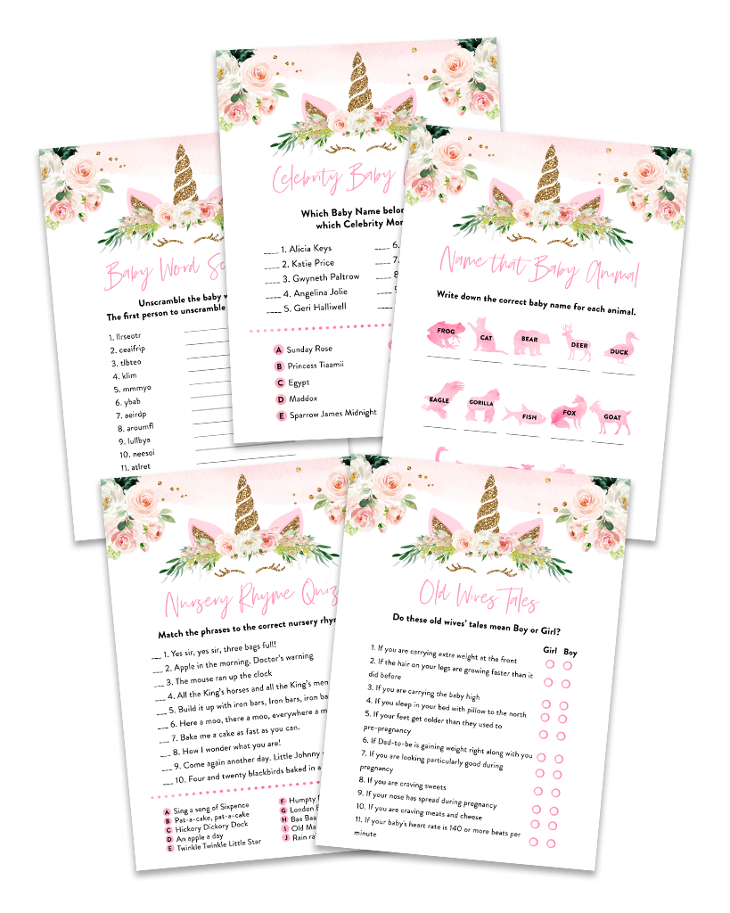 Floral Unicorn Baby Shower Games Pack Printable White Pink and Gold Babyshower Games Unicorn Baby Shower Emoji Pictionary Baby Mad Libs MU1