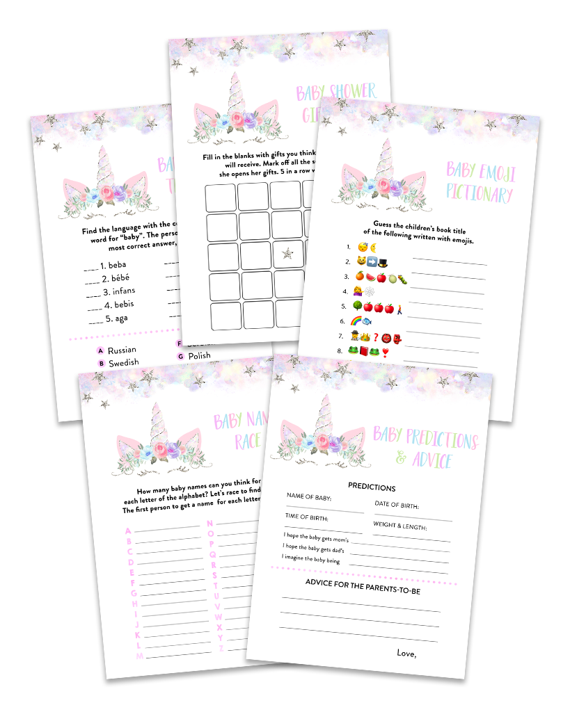 Silver Floral Unicorn Baby Shower Game Pack