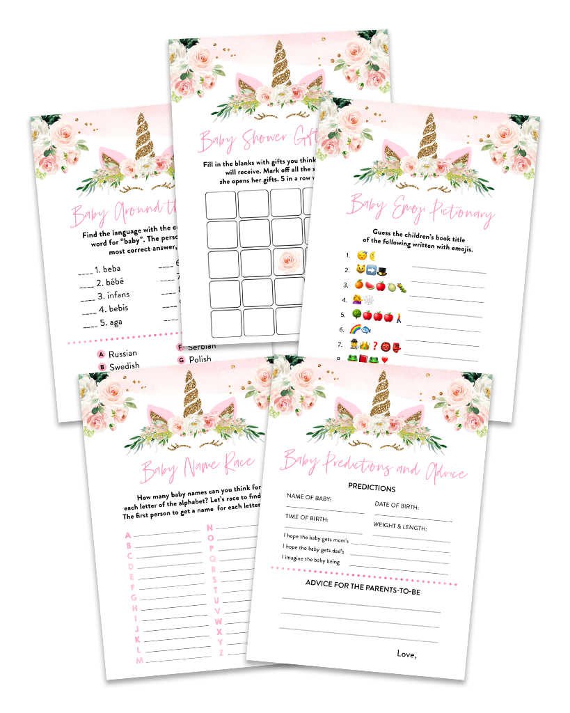 Blush Pink Floral Unicorn Baby Shower Game Pack