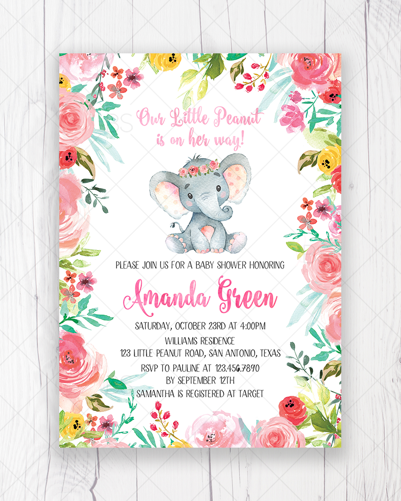 Colorful Floral Elephant Baby Shower Invitation Printable