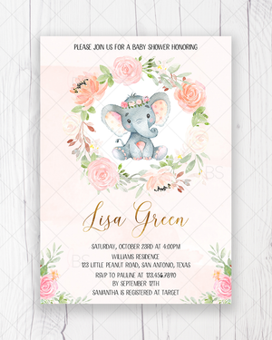 Pink Ink Floral Elephant Baby Shower Invitation Printable