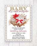 Winter It's Cold Outside Gold Baby Shower Invitation Printable