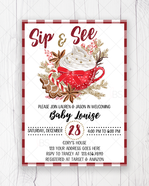 Sip and See Cookies and Cocoa Christmas Baby Shower Invitation Printable
