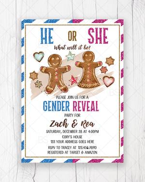 He or She Gender Reveal Gingerbread Christmas Baby Shower Invitation Printable