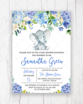 Blue Elephant Floral Baby Shower Invitation Printable