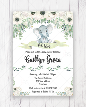 White Floral Gender Neutral Elephant Baby Shower Invitation Printable