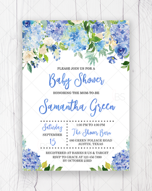 Blue Floral Baby Shower Invitation Printable