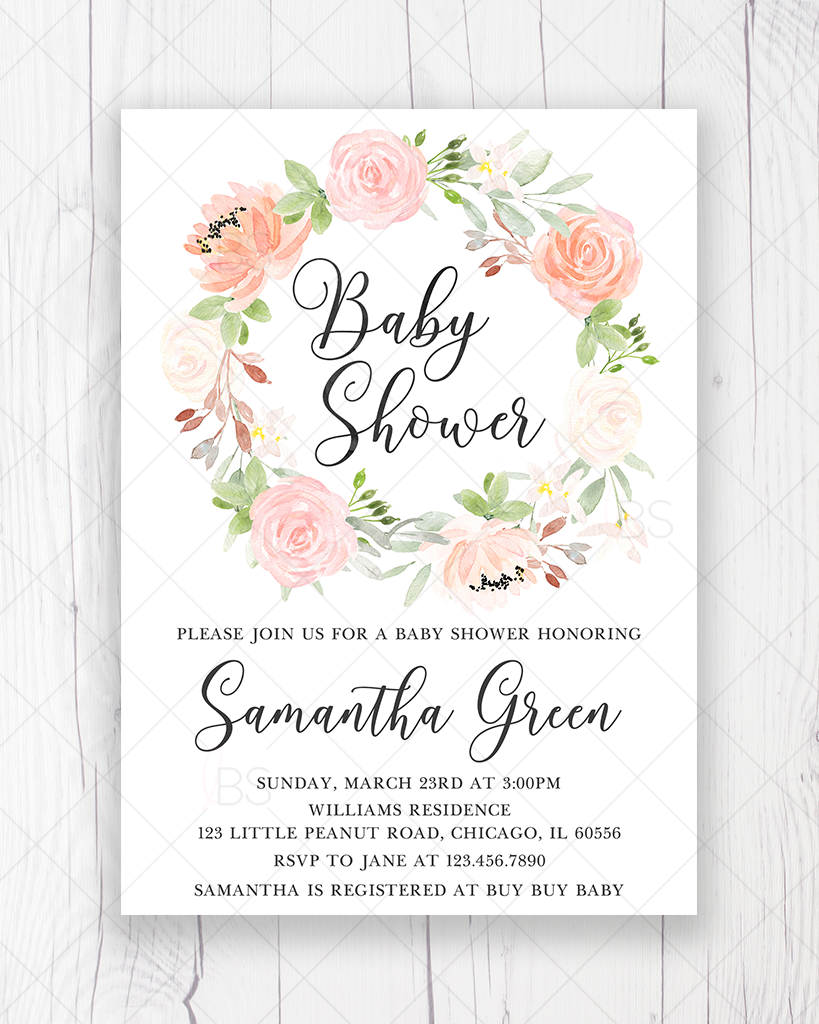graphic about Baby Shower Invitation Printable identified as Peach and Crimson Floral Boy or girl Shower Invitation Printable