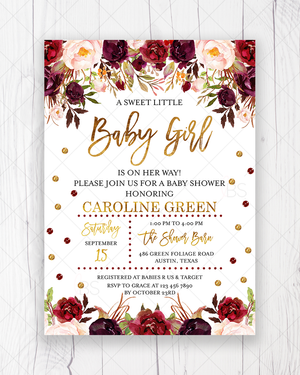 Marsala and Gold Floral Baby Shower Invitation Printable