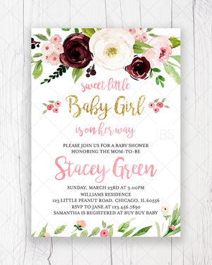 Marsala and Blush Pink Floral Baby Shower Invitation Printable