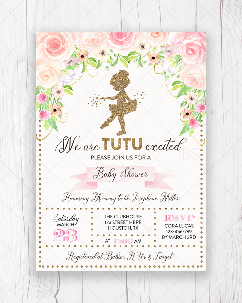 image about Baby Shower Invitation Printable named Purple and Gold Floral Tutu Ballerina Boy or girl Shower Invitation Printable