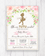Pink and Gold Floral Tutu Ballerina Baby Shower Invitation Printable