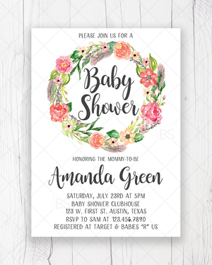 Floral Baby Shower Invitation Printable