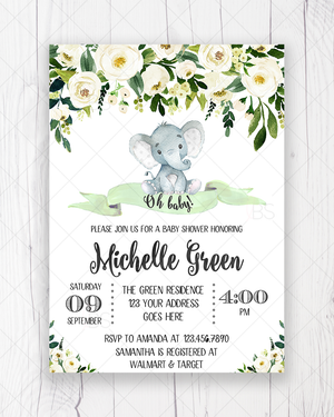 White and Green Floral Elephant Baby Shower Invitation Printable