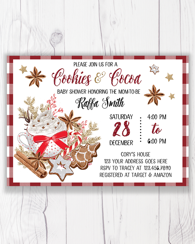 Cookies And Cocoa Christmas Baby Shower Invitation Printable Let S