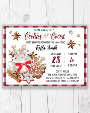 Cookies and Cocoa Christmas Baby Shower Invitation Printable