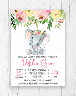 Pink and Yellow Floral Elephant Baby Shower Invitation Printable