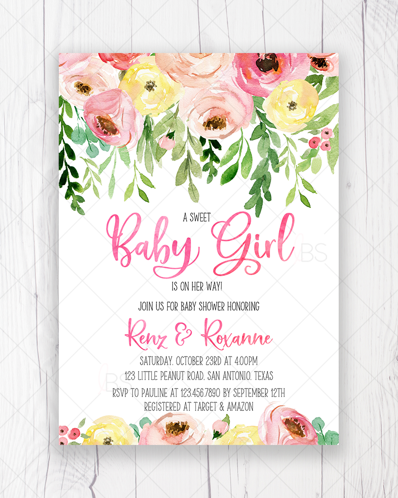 Pink and Yellow Floral Baby Shower Invitation Printable