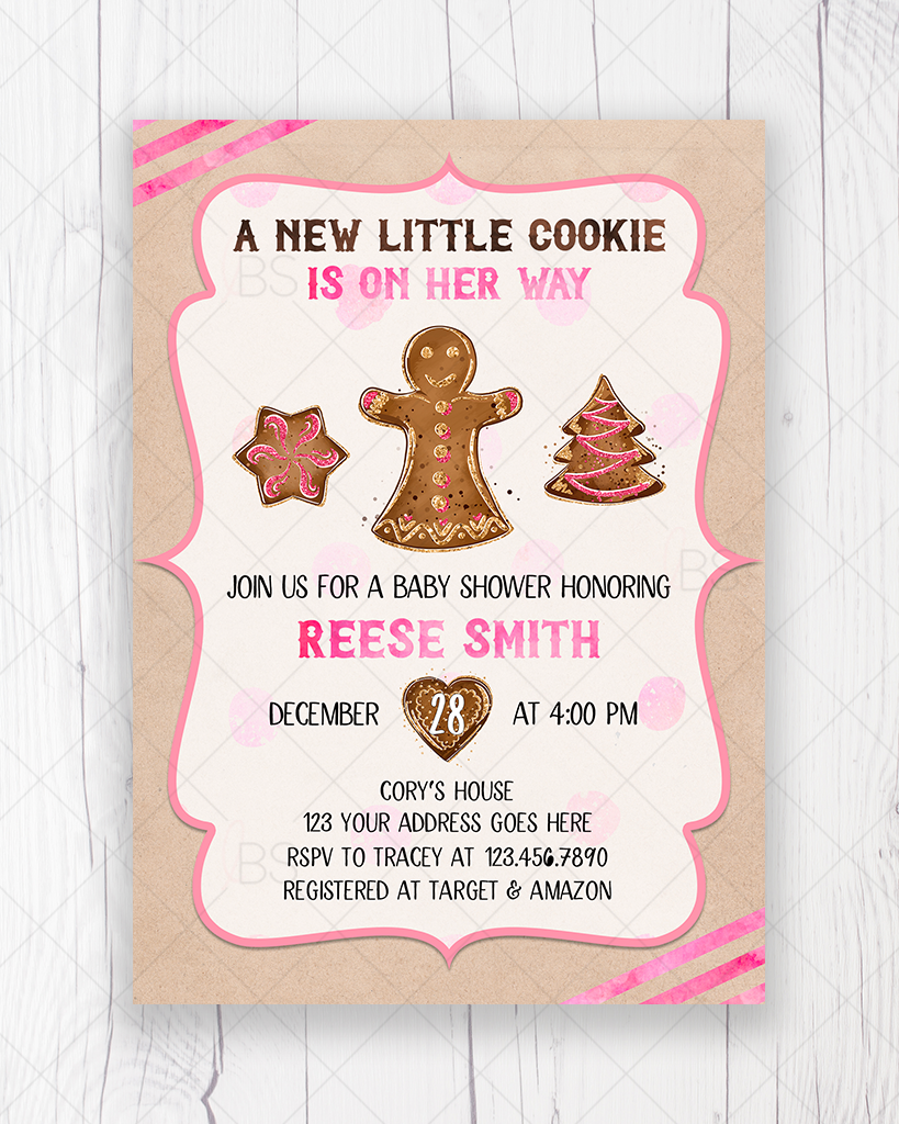 Pink Little Cookie Gingerbread Christmas Baby Shower Invitation Printable