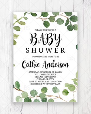 Greenery Foliage Baby Shower Invitation Printable