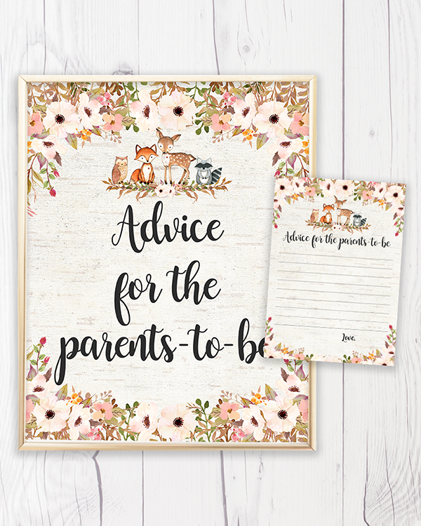 Floral Woodland Baby Shower Printable Advice for the Parents-to-be