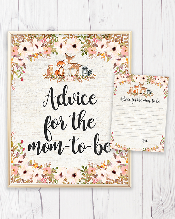 Floral Woodland Advice for the Mom-to-be Printable
