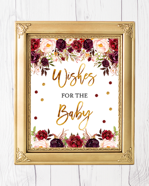 Marsala And Gold Floral Baby Shower Wishes for Baby Printable Sign